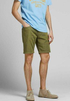 Denim shorts - deep lichen green