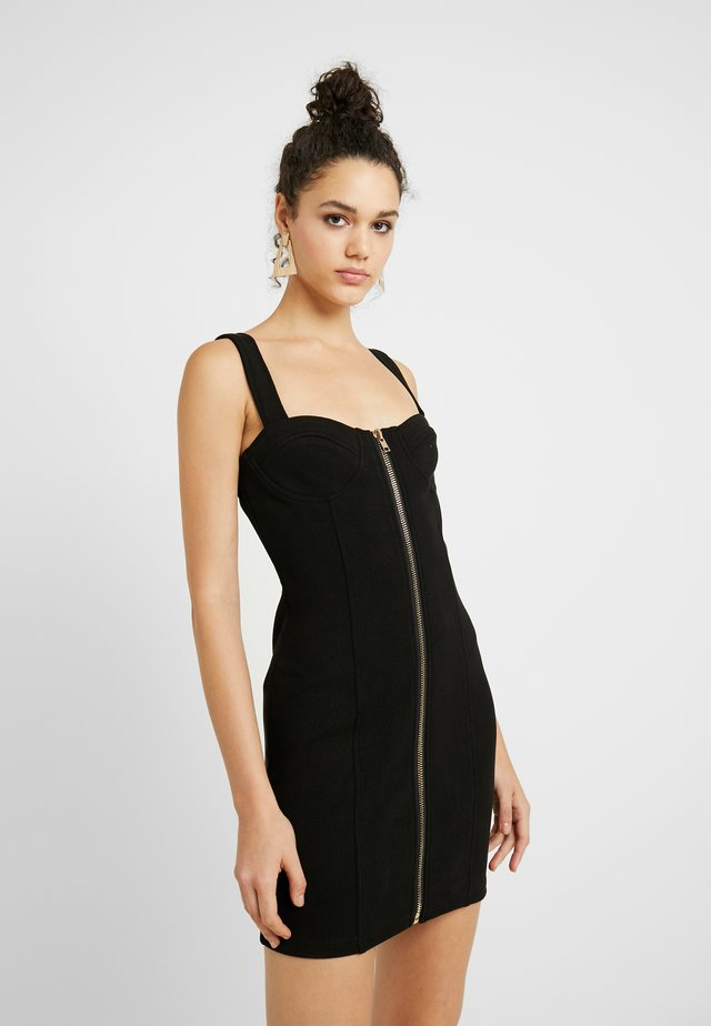 SLEEVELESS ZIPPER FRONT DRESS - Korte jurk - black