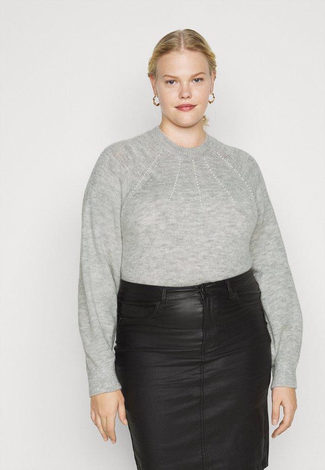 VMPEPPY PEARL HIGHNECK BLOUSE  - Sweter - light grey melange