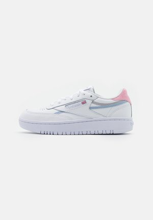 CLUB C DOUBLE - Trainers - footwear white/cold grey/orange fluo