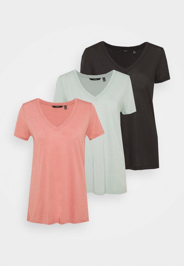 VMSPICY V NECK 3 PACK - T-shirt print - black/jadeite/old rose