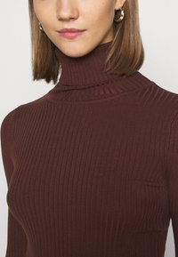 Even&Odd - BASIC- RIBBED TURTLE NECK - Jumper - dark brown - 5