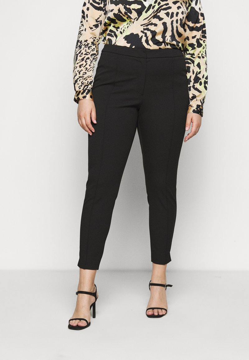 Selected Femme Curve - SLFLUE PINTUCK PANT - Trousers - black