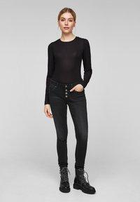 Q/S designed by - Long sleeved top - black melange - 1