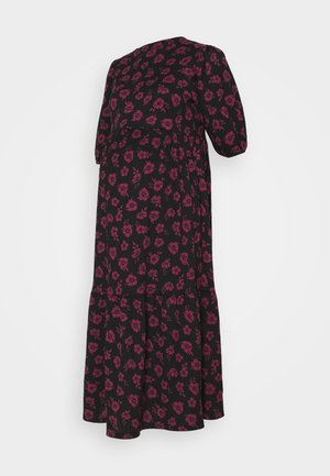 ANNA FLORAL CHUCK ON CRINKLE TIER MIDI - Day dress - black/pink