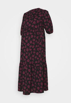 ANNA FLORAL CHUCK ON CRINKLE TIER MIDI - Denní šaty - black/pink