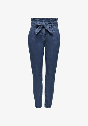 REGULAR FIT ONLPOPTRASH PAPERBAG - Straight leg jeans - dark blue denim