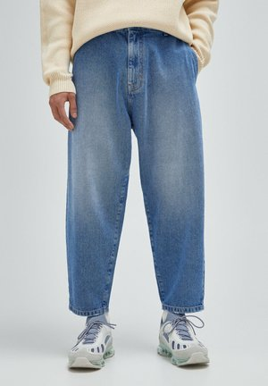 Relaxed fit jeans - mottled dark blue