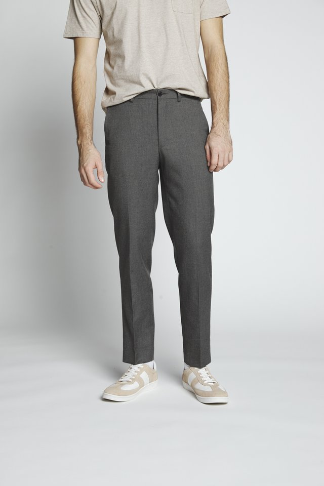 FLANNEL PLAIN TROUSER - Broek - grey