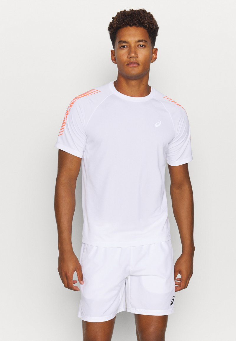 ASICS - ICON - Print T-shirt - brilliant white/flash coral
