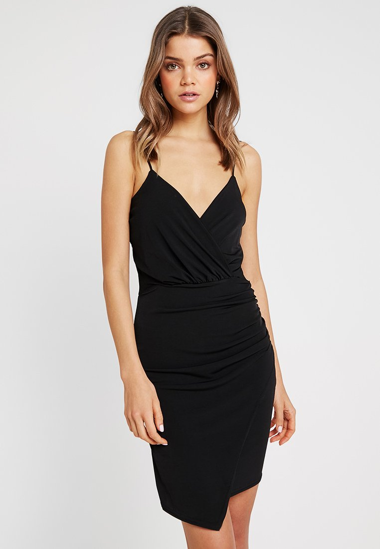 Missguided - SLINKY WRAP OVER MINI DRESS - Pouzdrové šaty - black