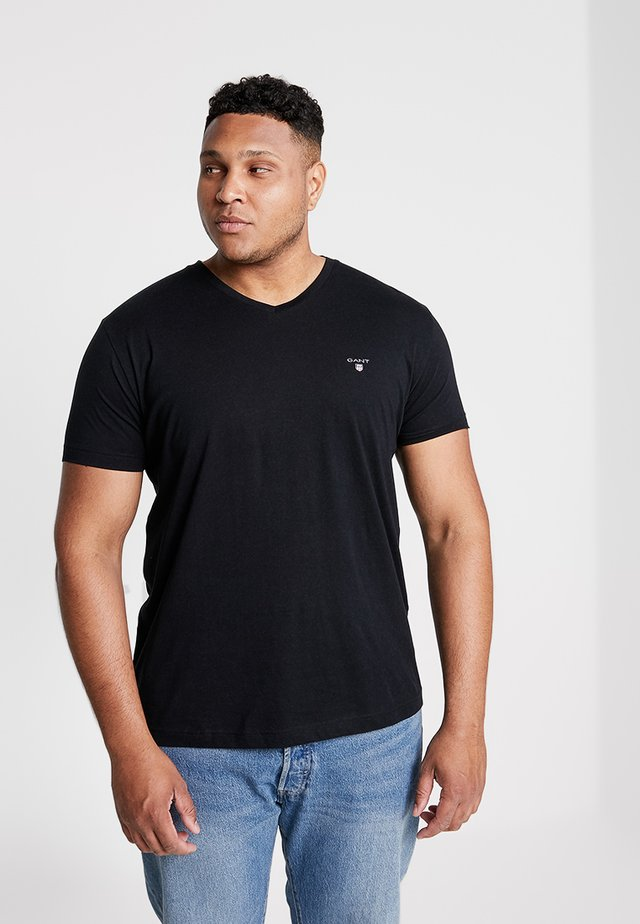 THE ORIGINAL SLIM V NECK  - Print T-shirt - black