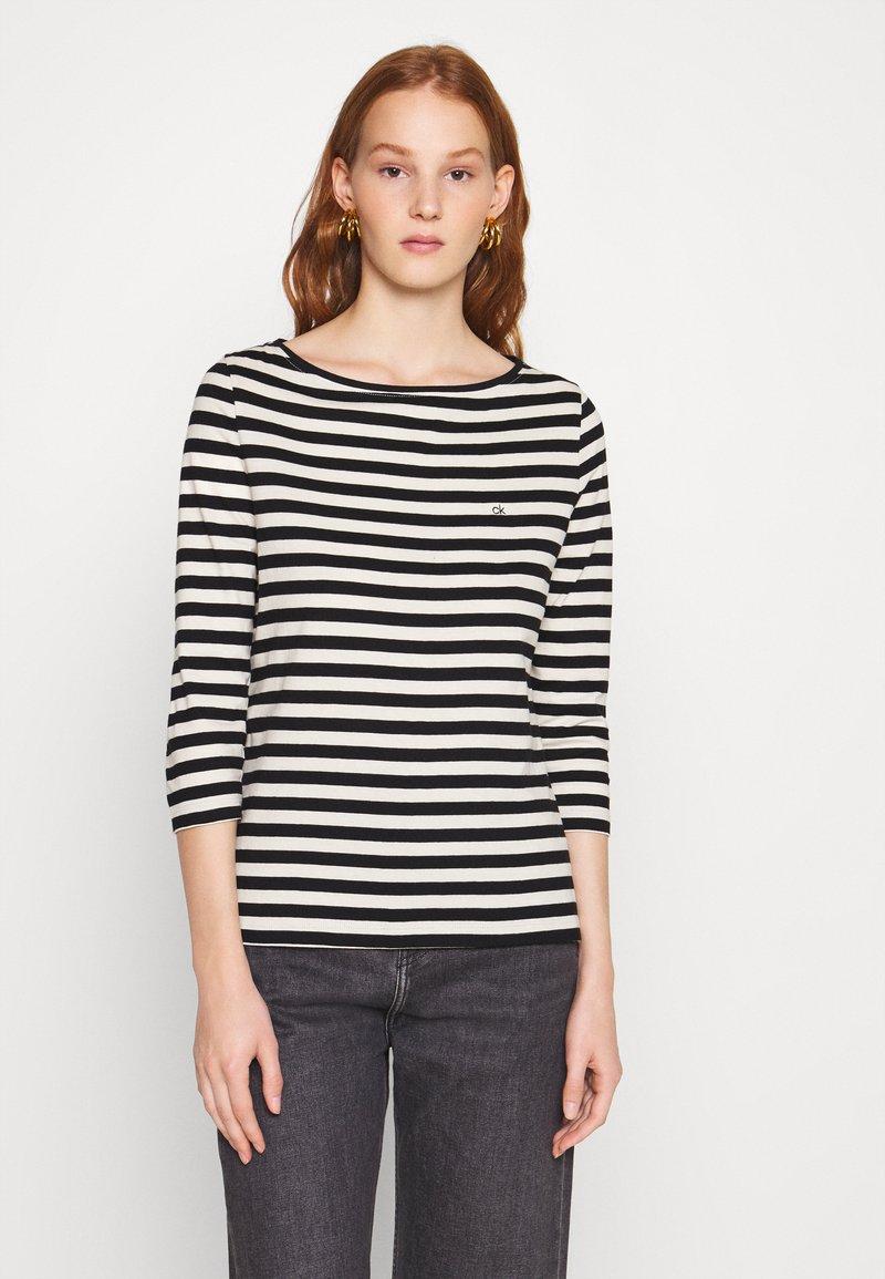 Calvin Klein - SMALL LOGO BOATNECK - Long sleeved top - black/white smoke