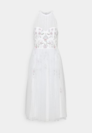 HIGH NECK MIDI WITH FLORAL EMBELLISHMENT - Cocktail dress / Party dress - ice blue/ivory