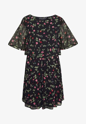 FLORAL TRIPLE TIER SHORT SLEEVE DRESS - Vapaa-ajan mekko - black