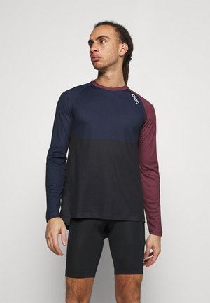 PURE  - Long sleeved top - red/turmaline navy/uranium black