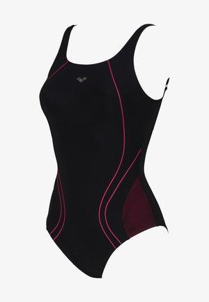 MIRANDA BACK - Swimsuit - schwarz und lila