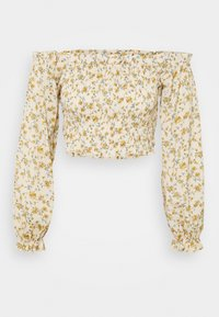 Missguided - FLORAL FRILL DETAIL SHIRRED CROP - Blouse - cream - 3