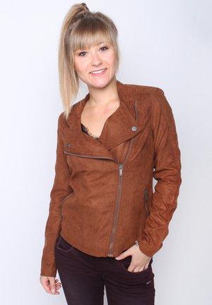 LEONA - Faux leather jacket - cognac