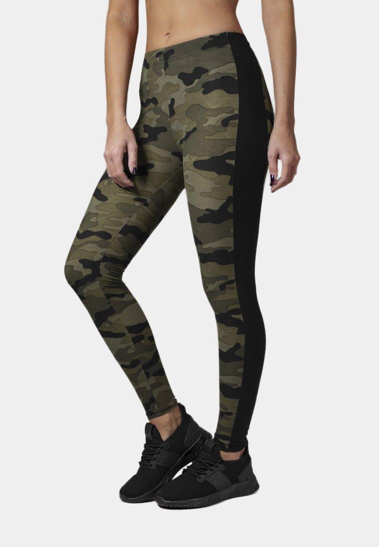 Urban Classics - Leggings - Trousers - woodcamo/blk