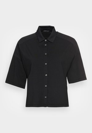 JERSEY BLOUSE  SMALL STAND UP COLLAR BUTTON CLOSURE - Paitapusero - dusty black