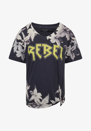 REBEL  - Print T-shirt - washed black