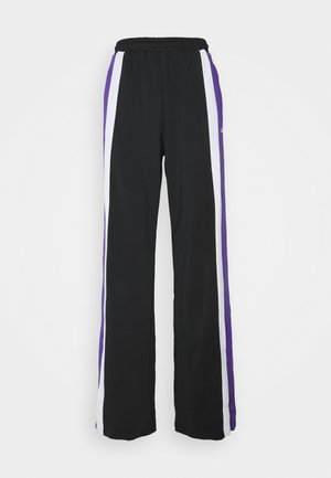 BECCA TRACK PANTS OVERLENGTH - Tracksuit bottoms - black/ultra violet/bright white