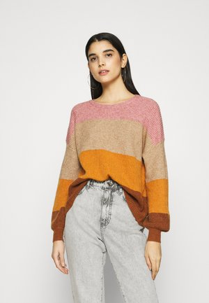 ONLSANDY STRIPE - Strikpullover /Striktrøjer - dusty rose/pumice stone/pump
