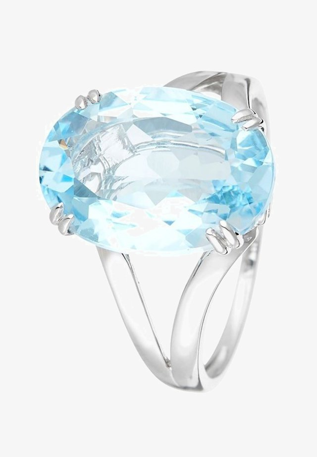 WHITE GOLD RING 9K CERTIFIED TOPAZ 6.4 CTS AND 2 DIAMONDS HP1 0.05 CT - Bague - blue