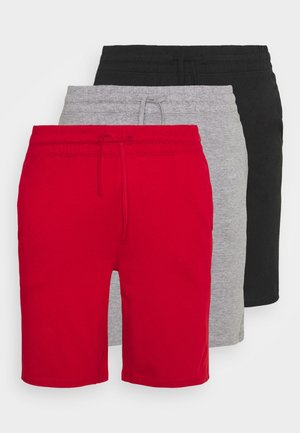 3 PACK - Pyjama bottoms - black/mottled dark grey/red