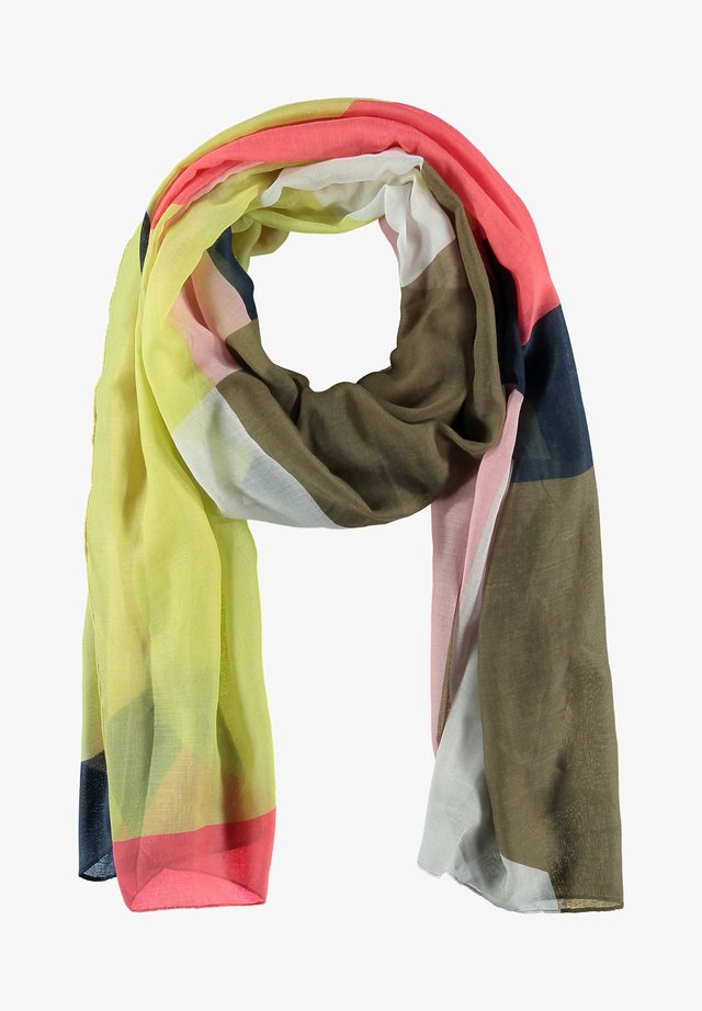 Sjaal - olive, yellow, pink