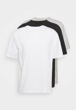 3 PACK UNISEX - T-shirts basic - black/light grey/white