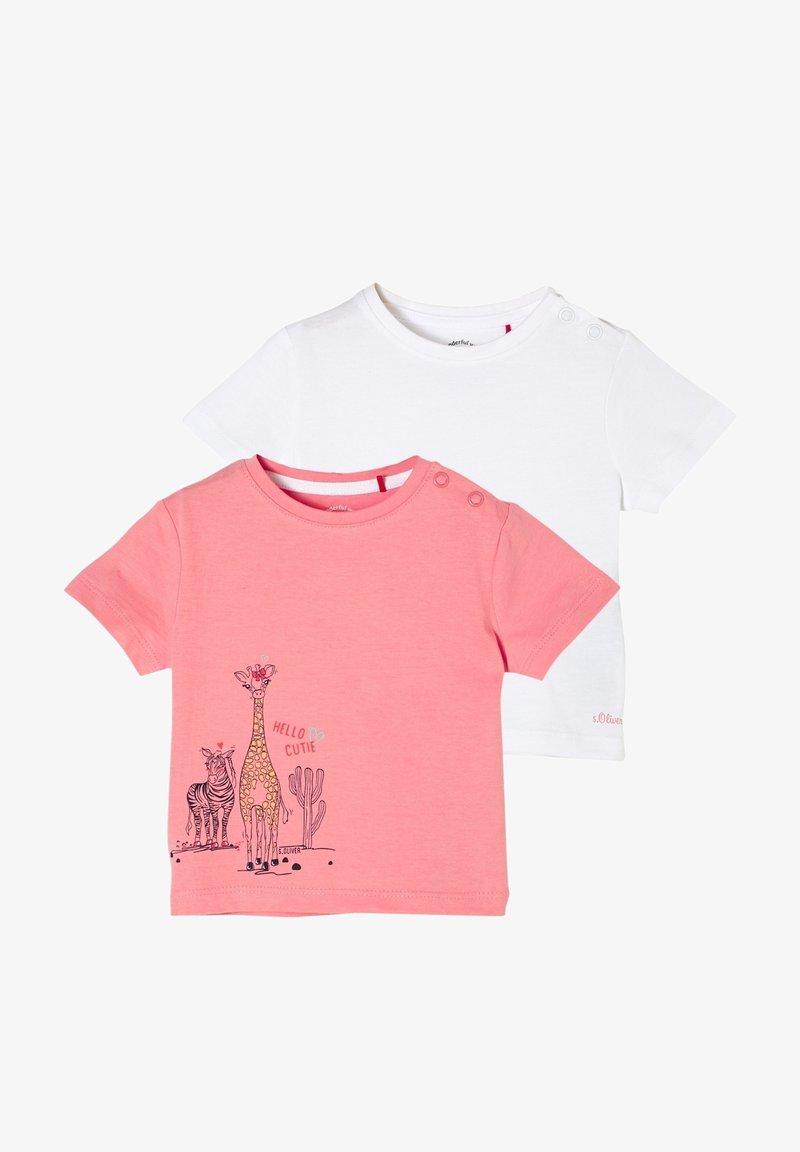 s.Oliver - 2ER PACK - Print T-shirt - pink/white
