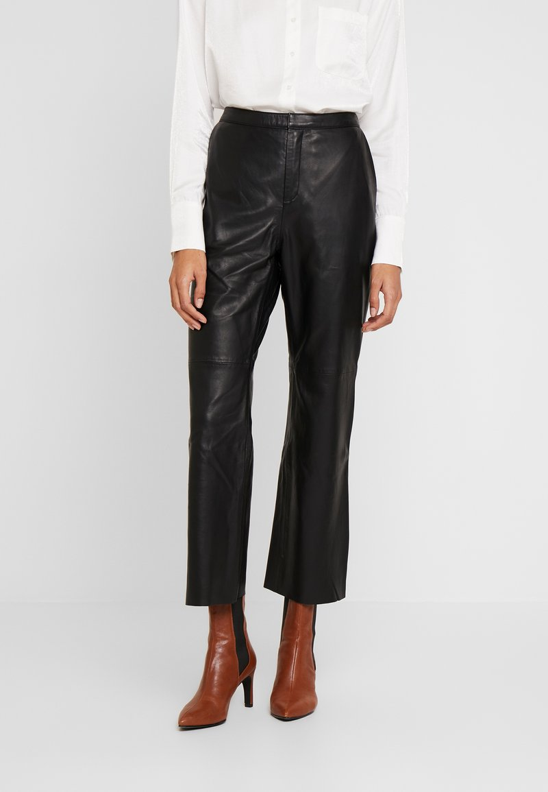 Part Two - MARVELLA - Leather trousers - black