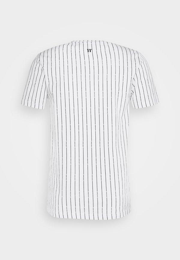 11 DEGREES VERTICAL STRIPE - T-shirt z nadrukiem - white/black/biały Odzież Męska MNRL