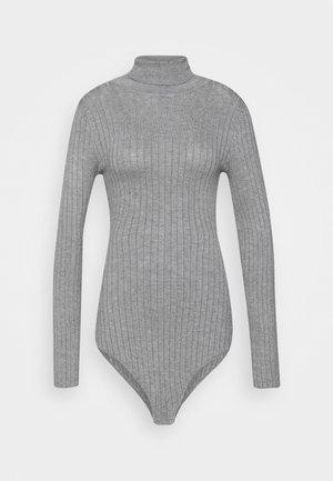 BODYSUIT- TURTLE NECK RIBBED - Jumper - mid grey melange