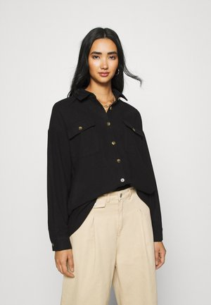 NMFLANNY LONG SHACKET - Button-down blouse - black