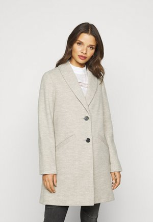 MINIMAL SHAWL COLLAR COAT - Abrigo - light grey