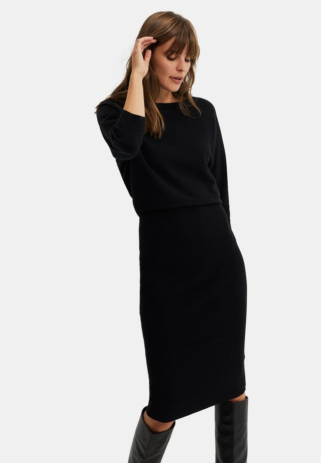 DAMES FIJNGEBREIDE - Abito in maglia - black
