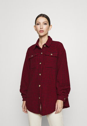 DOGTOOTH OVERSIZED SHACKET - Button-down blouse - red