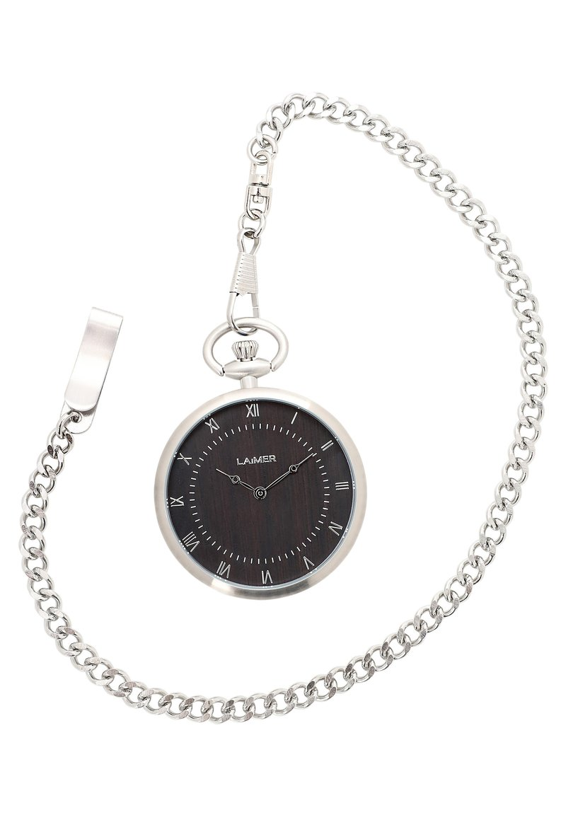 LAIMER - LAIMER QUARZ HOLZUHR - ANALOGE TASCHENUHR SANDELHOLZ - Watch - silver