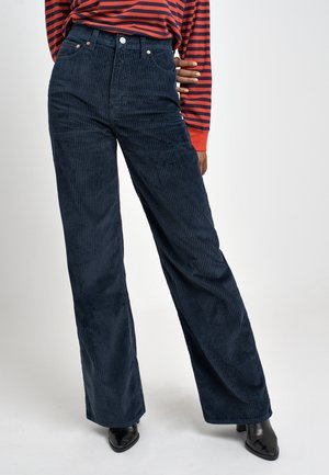 RIBCAGE CORD WIDE LEG - Flared Jeans - navy blazer plush cord