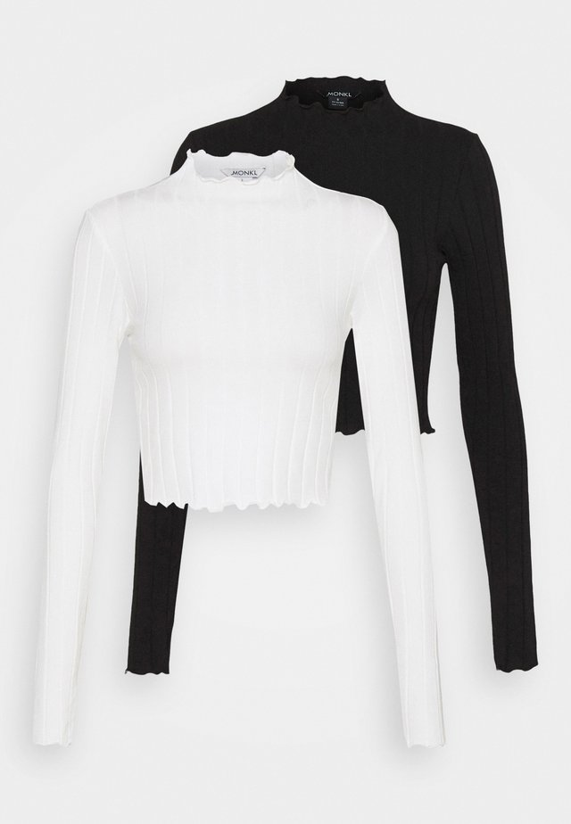 BLAZE 2 PACK - Top sdlouhým rukávem - black / white
