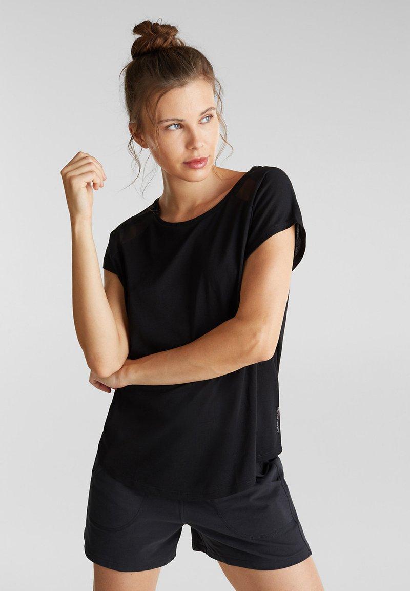 Esprit Sports - MIT NETZ-EINSATZ - Print T-shirt - black