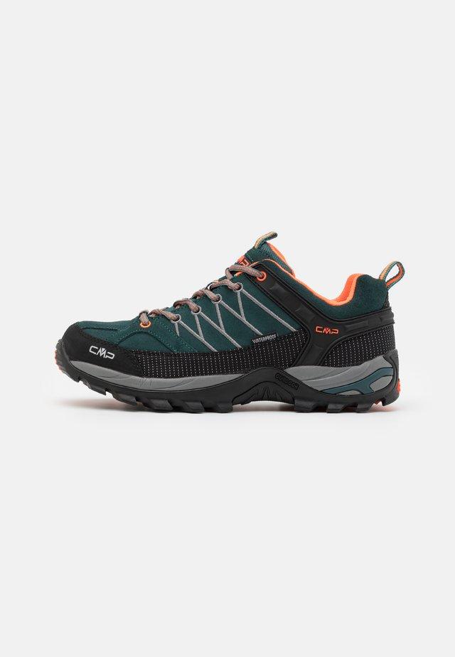 RIGEL LOW TREKKING SHOES WP - Hiking shoes - petrolio/orange fluo