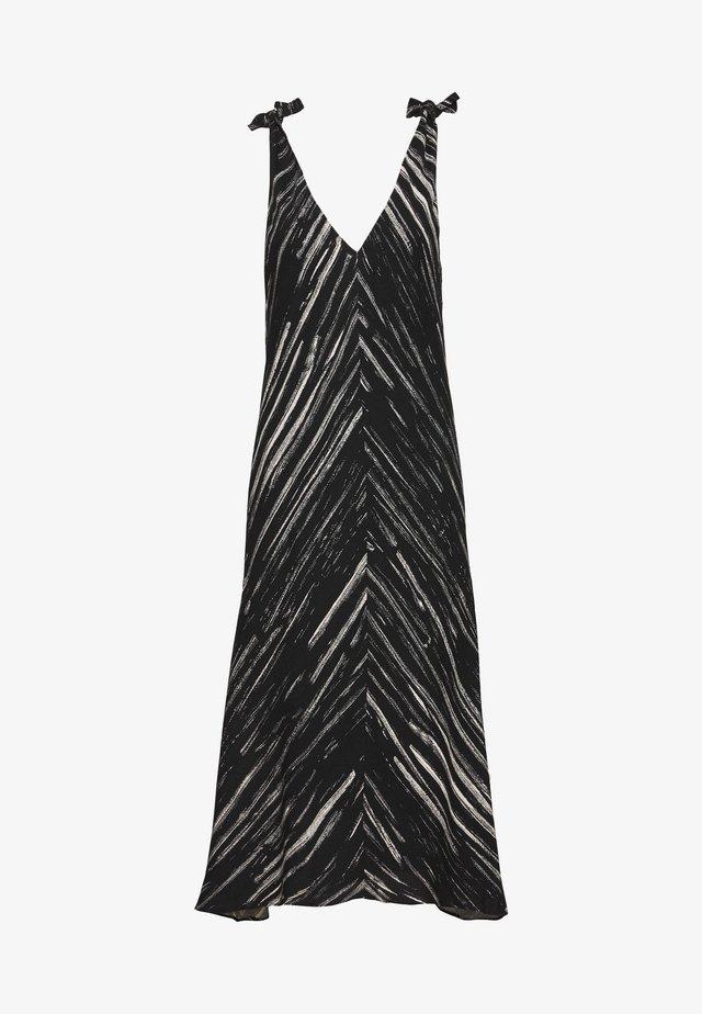 PRINTED SLEEVELESS KNOT SLEEVE DRESS - Robe d'été - black/ecru