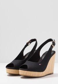 Tommy Hilfiger - ICONIC ELENA SLING BACK WEDGE - High heeled sandals - black - 4