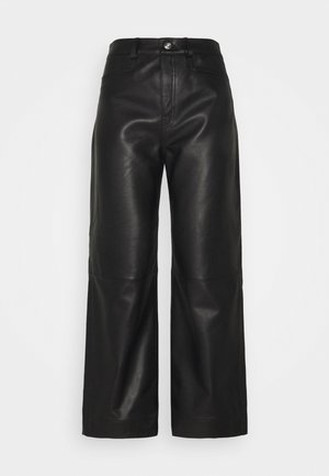 LIGHTWEIGHT CULOTTES - Leather trousers - black