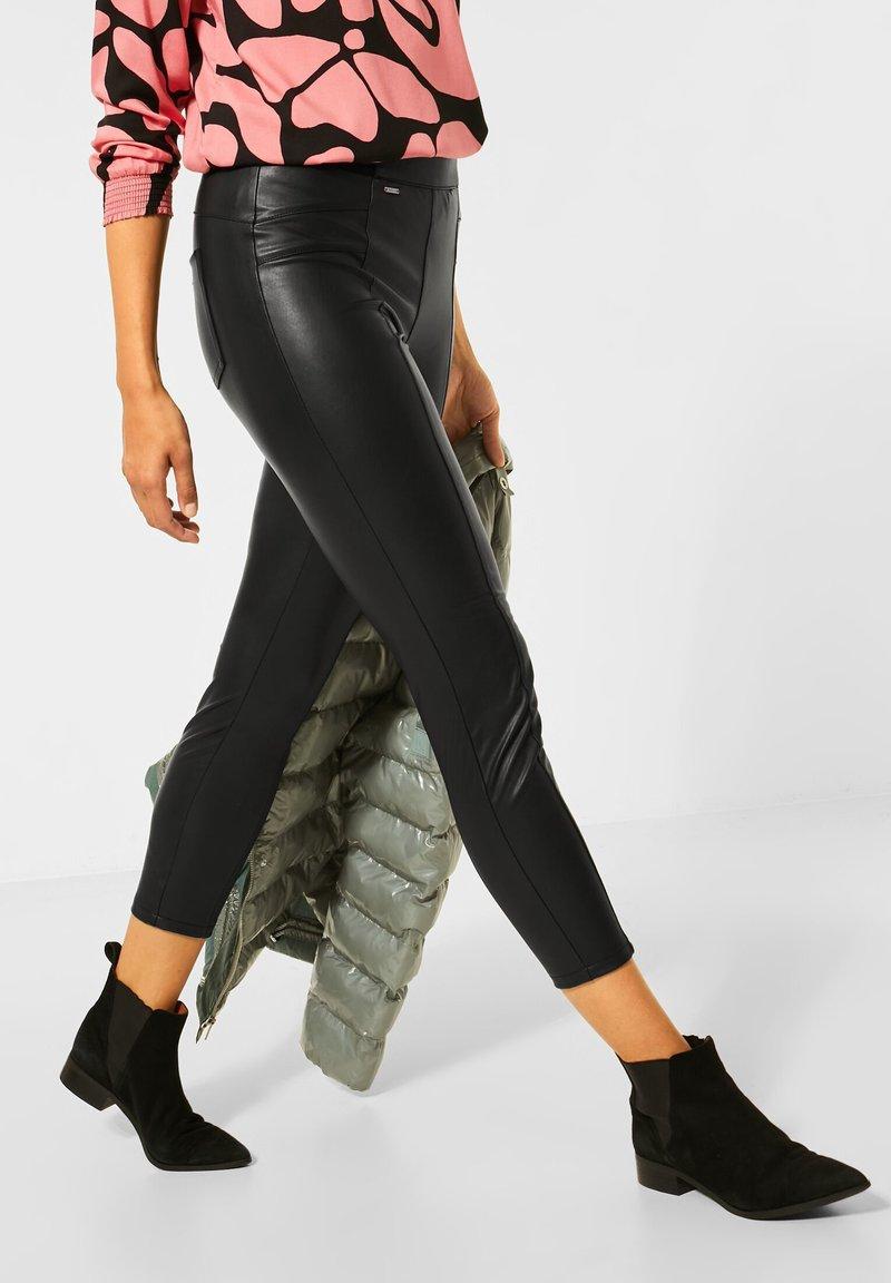 Street One - Leather trousers - schwarz
