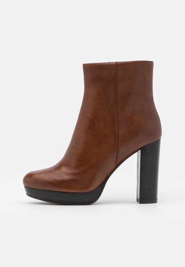BARRY - High heeled ankle boots - cognac